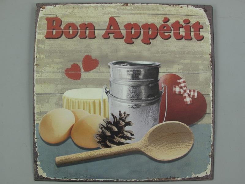 Wandschild - Blechschild aus Eisenblech - Top Deko, Bon Appetit - H30 x B30cm