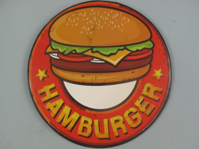 Wandschild - Blechschild aus Eisenblech - Top Deko, Hamburger - Ø 30 cm