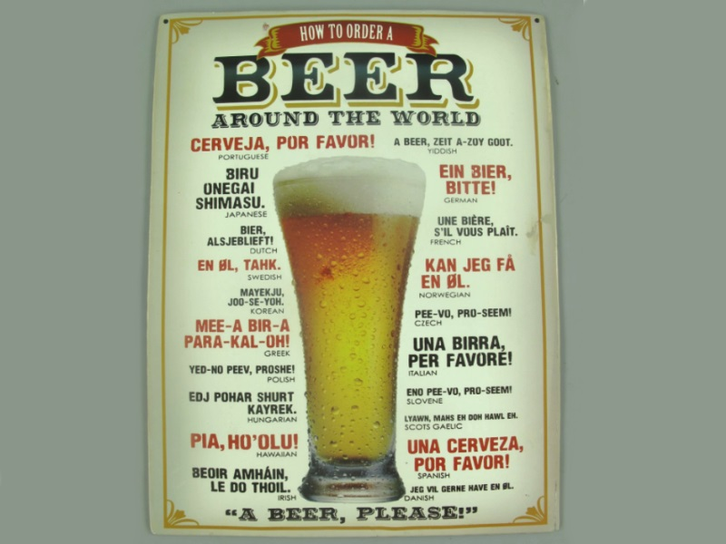 Wandschild - Blechschild aus Eisenblech - Top Deko, Beer around the Wolrd - H40x