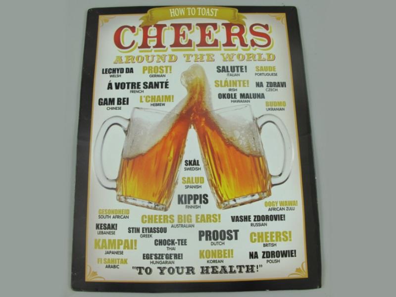 Wandschild - Blechschild aus Eisenblech - Top Deko, Cheers around the World - H4