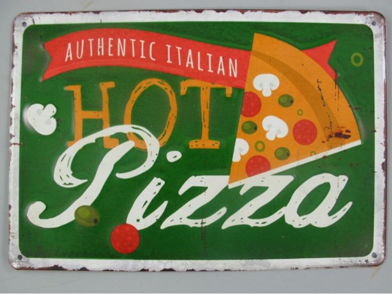 Wandschild - Blechschild aus Eisenblech - Top Deko, Hot Pizza - H20 x B30 cm