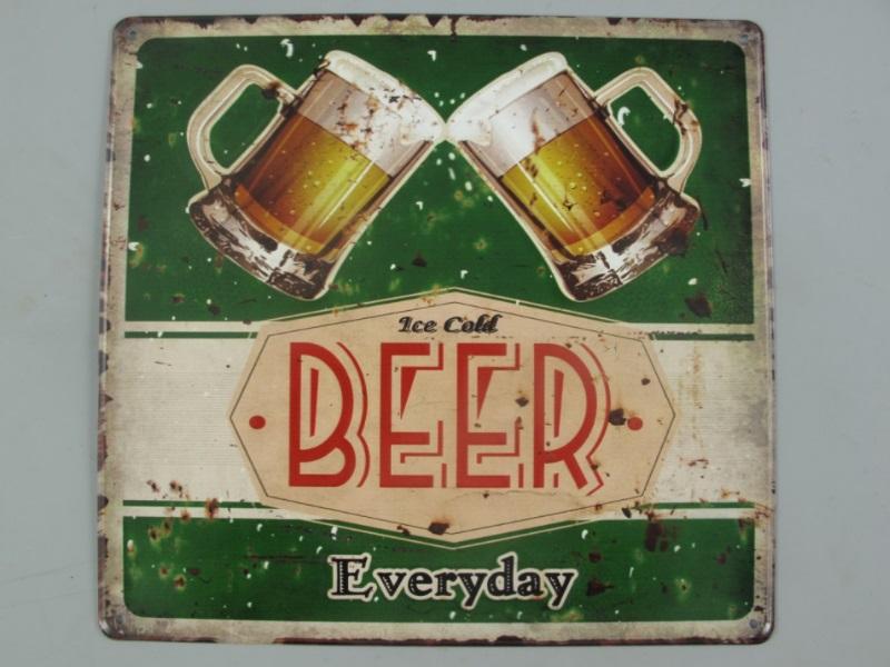 Wandschild - Blechschild aus Eisenblech - Top Deko, Beer Everyday - H30 x B30cm