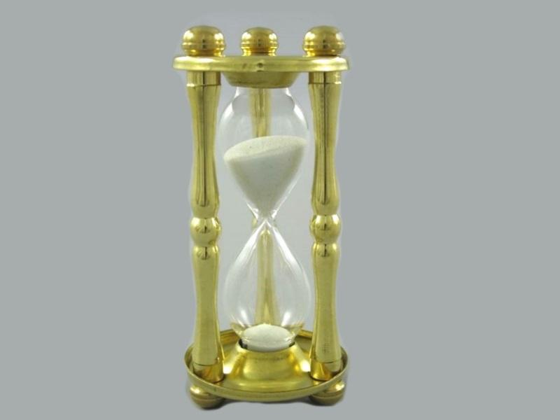 Sanduhr Uhr Glasuhr Kurzzeitmesser Eieruhr 5 min Messing 125g Höhe 11,5 cm Ø5 cm