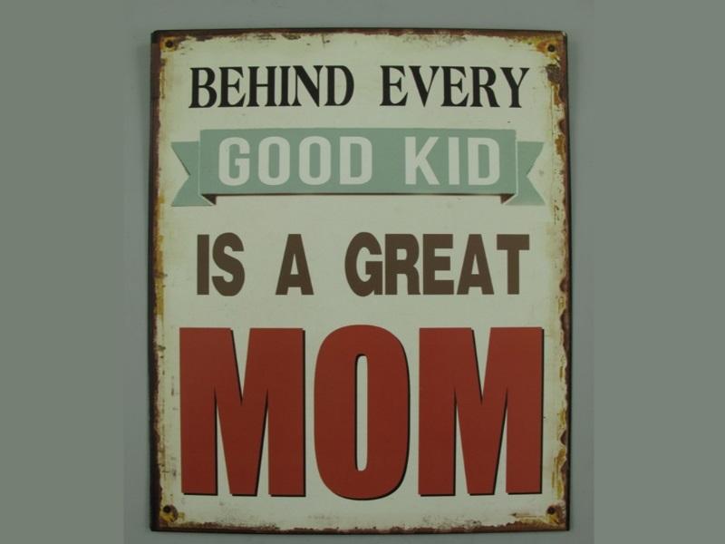 "Wandschild Retro ""GREAT MOM"" H25 x B33 cm Shabby"