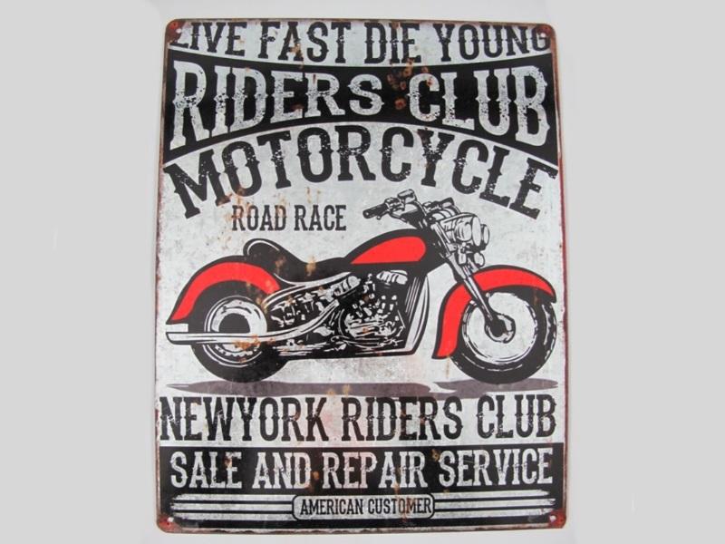 "Wandschild Retro ""RIDERS CLUB - MOTORCYCLE"" H40 x B30 cm Shabby"