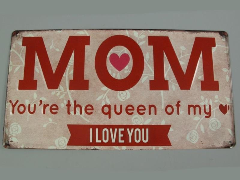 "Wandschild Retro ""MOM I LOVE YOU"" (gestanzt) H40 x B20 cm Shabby"