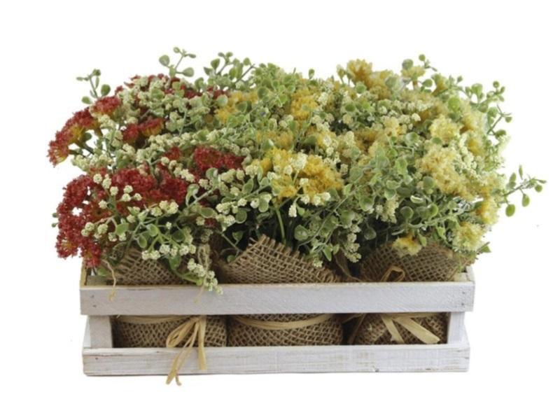 6er Set Blumentöpfe mit schönen Kunstblumen in Holzsteige - Farbe Rot, Gelb, Cre