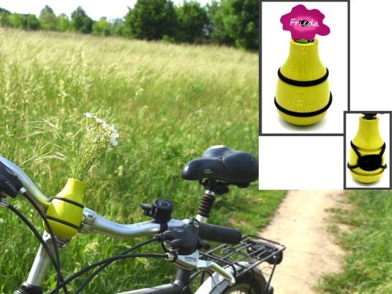 """Fahrradvase FRIEDA - Lenker Vase aus Holz h9xd5cm """"Made in Germany"""" - Apfelgrün"""