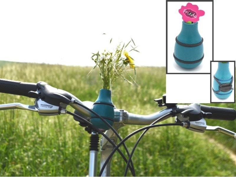 """Fahrradvase FRIEDA - Lenker Vase aus Holz h9xd5cm """"Made in Germany"""" - Blau"""