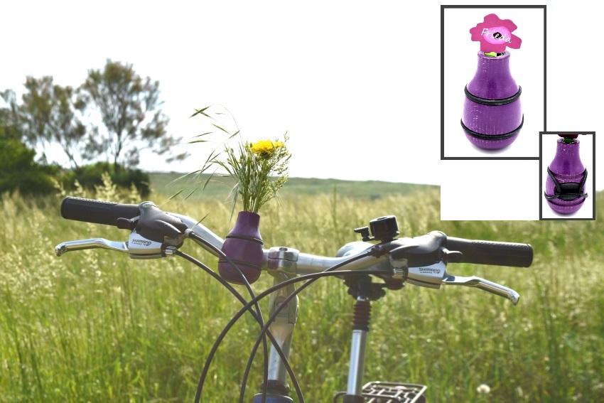 """Fahrradvase FRIEDA - Lenker Vase aus Holz h9xd5cm """"Made in Germany"""" - Lila"""