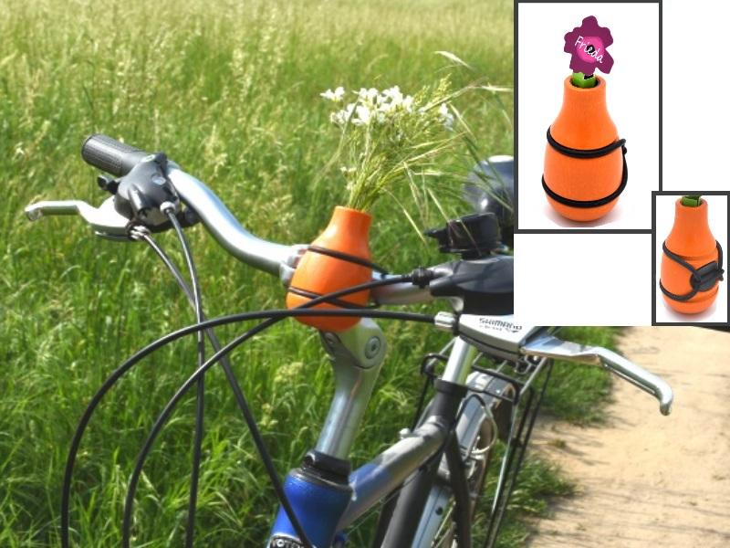 """Fahrradvase FRIEDA - Lenker Vase aus Holz h9xd5cm """"Made in Germany"""" - Orange"""