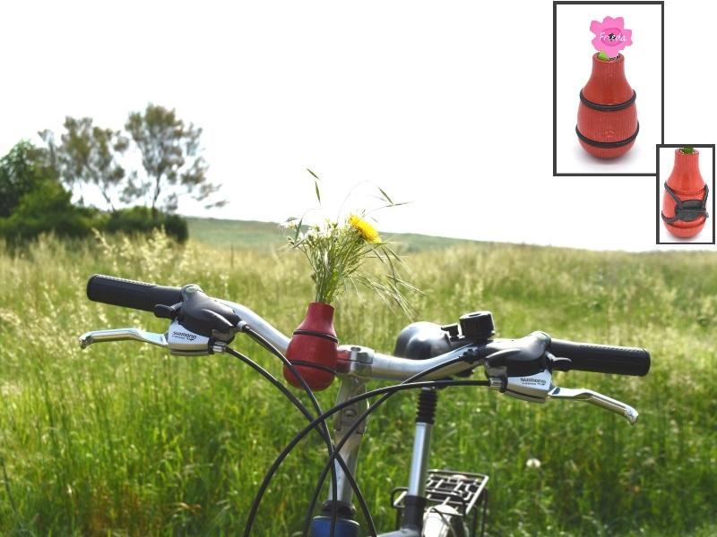 """Fahrradvase FRIEDA - Lenker Vase aus Holz h9xd5cm """"Made in Germany"""" - Rot"""