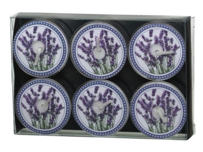 12 Teelichte mit Motiv Mediterran Lavendel Blüte ca.4 Std. Brenndauer