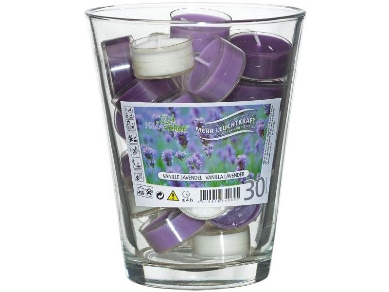 """Geschenk-Set  Glasvase + 30 Duftteelichter """"Vanille-Lavendel"""" Dekoglas"""