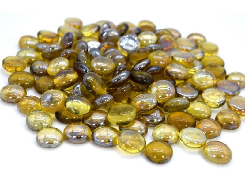 Glasnuggets Glassteine Streudeko Tischdeko Ø16 -18 mm ca. 500g Gelb