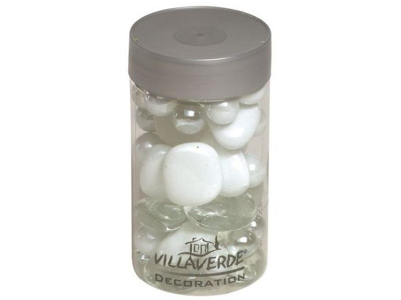 Glassteine Mischung - Glas Mix Streudeko Tischdeko 500g Dose – Weiß-Mix