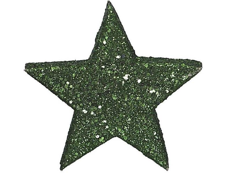 12 Dekosterne Glitzersterne Streudeko Tischdeko 6 cm Farbe Grün