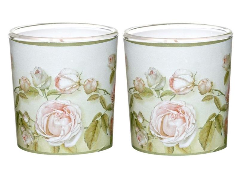 Wunderschöne Themen-Motiv Kerzen im Glas -  Ø7,1cm x Höhe7,8cm, Farbe Beauty Ros
