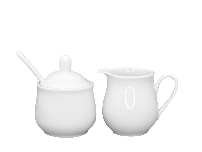 Tisch-Set Milchkännchen und Zuckerdose aus Porzellan weiß