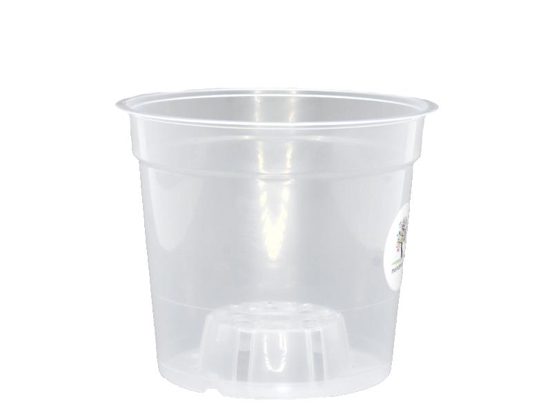 Orchideentopf aus Kunststoff transparent (Ø 19 cm x Höhe 17 cm)