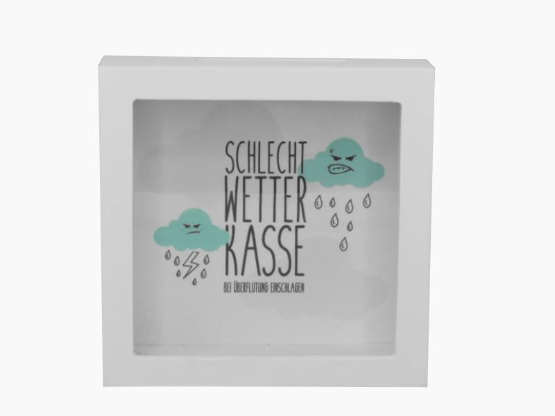 Spardose - Bilderrahmen - Sparbüchse - aus Holz und Glas - B15cm H15cm T5cm Wett