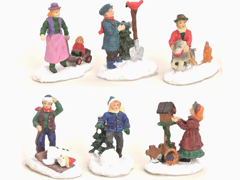 6 teilige Set Weihnachtliche Miniatur-Figuren Winterwelt-Szenen aus Poly Höhe 5