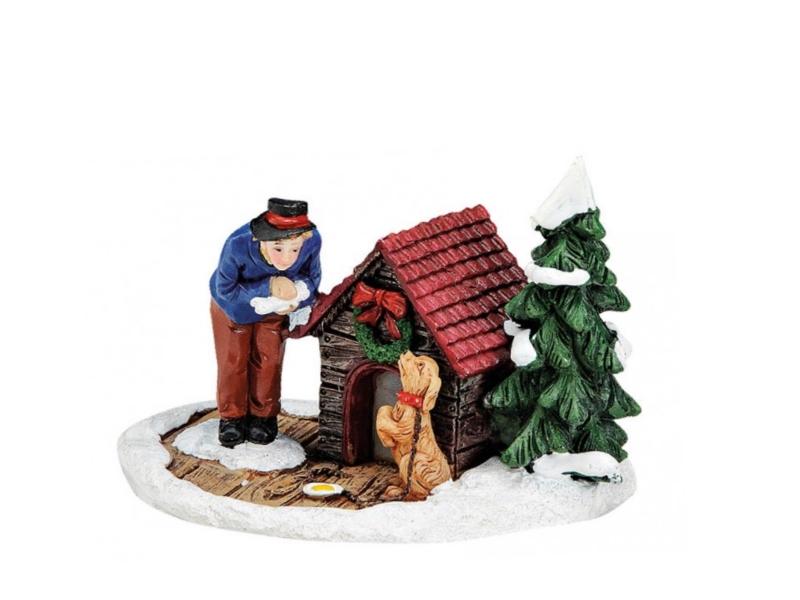 Schneemann mit spielenden Kindern meindekoartikel Weihnachtliche Miniatur-Figuren Winterwelt-Szene aus Poly H/öhe 6 cm