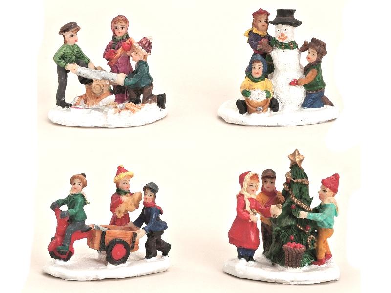 4 teiliges Set Weihnachtliche Miniatur-Figuren für ihre Winterwelt aus Poly – Ki