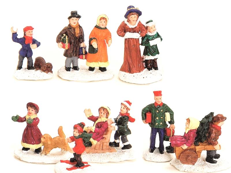 6 teiliges Set Weihnachtliche Miniatur-Figuren Winterwelt-Szenen aus Poly sortie