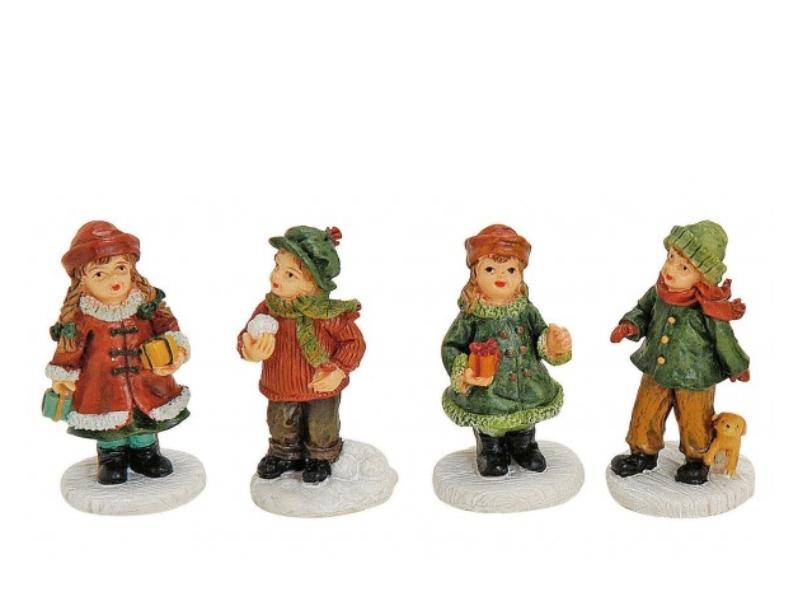 4 teiliges Set Weihnachtliche Miniatur-Figuren für ihre Winterwelt aus Poly sort
