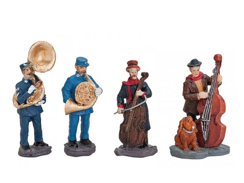 4 teiliges Set Weihnachtliche Miniatur-Figuren Winterwelt-Szene aus Poly – Straß
