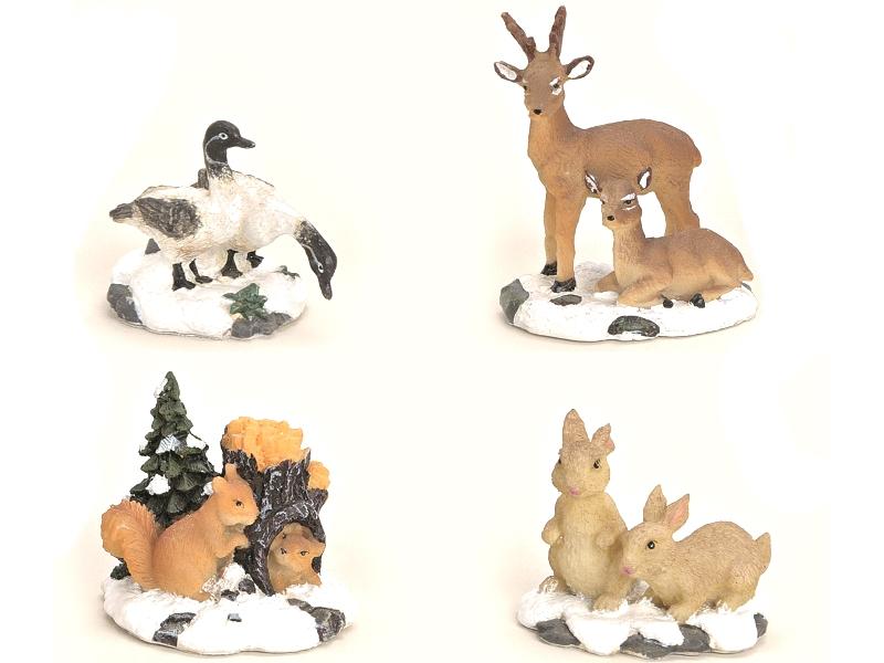 4 teiliges Set Weihnachtliche Miniatur-Figuren für ihre Winterwelt aus Poly - Ti