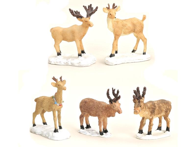 5 teiliges Set Weihnachtliche Miniatur-Figuren für ihre Winterwelt aus Poly -  H