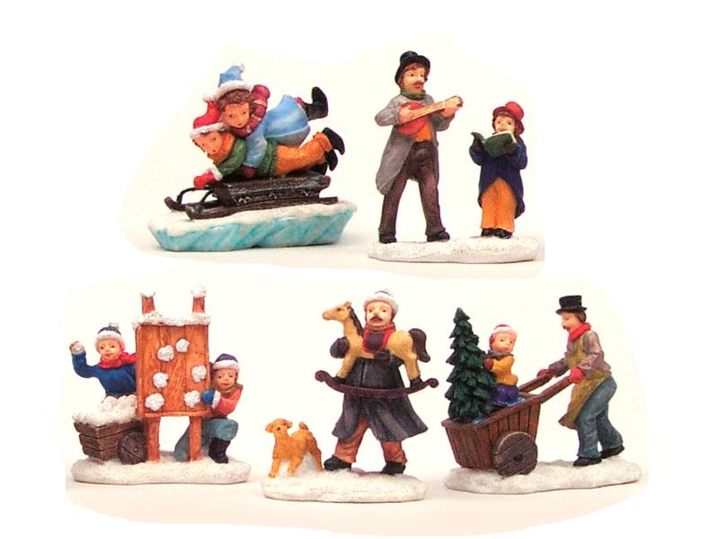 5 teiliges Set Weihnachtliche Miniatur-Figuren Winterwelt-Szenen aus Poly sortie