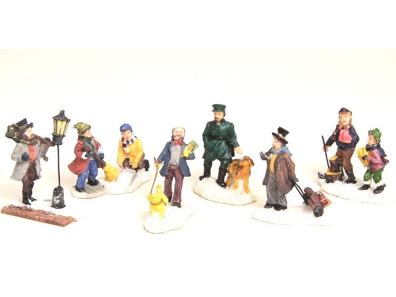 6 teilige Set Weihnachtliche Miniatur-Figuren Winterwelt-Szenen aus Poly Höhe 5-