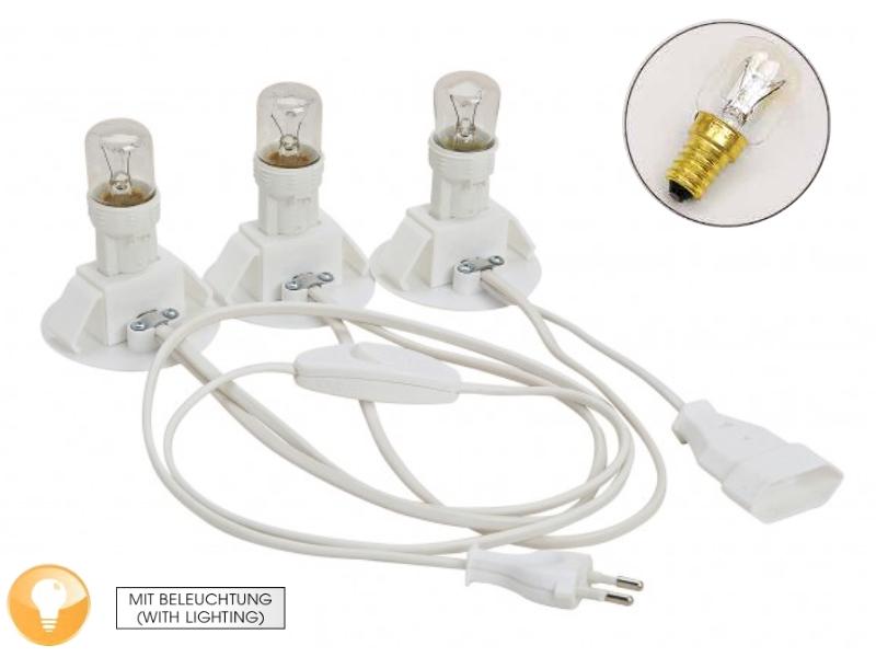 3fache Beleuchtung für 3 Lichthäuser, mit Kupplung zur Erweiterung (inkl. Leucht
