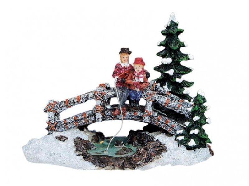 Weihnachtliche Miniatur-Figuren Winterwelt-Szene aus Poly 4 teiliger Weihnacht