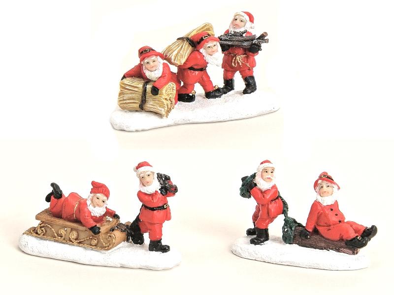 3 teiliges Set Weihnachtliche Miniatur-Figuren für ihre Winterwelt aus Poly - Ni