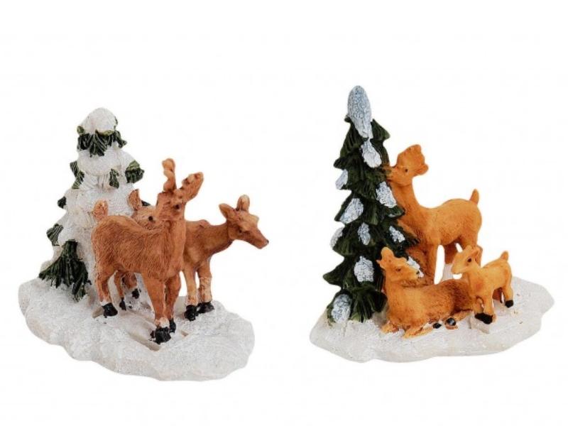 2 teiliges Set Weihnachtliche Miniatur-Figuren für ihre Winterwelt aus Poly - Re
