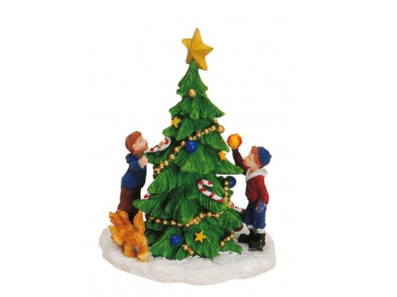 Weihnachtliche Miniatur-Figuren Winterwelt-Szene aus Poly B8 x H11 cm - Baum mit