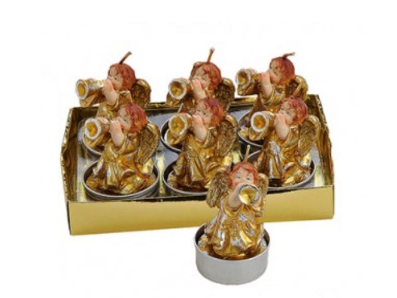 6 Teelichte im Set Formteelicht Teelicht-Figuren – süßer Engel mit Trompete - ro