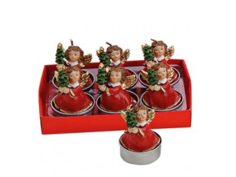 6 Teelichte im Set Formteelicht Teelicht-Figuren – süßer Engel mit Tanne - rot H