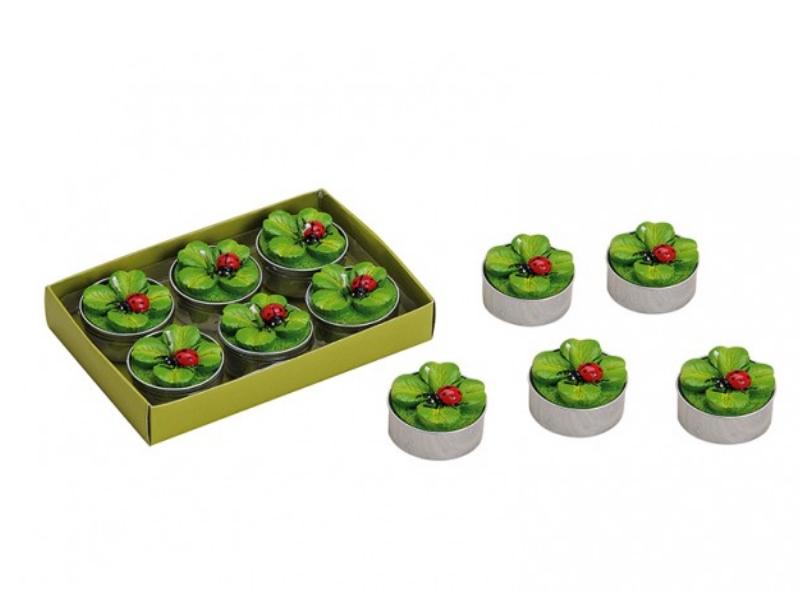 """6 Teelichte im Set Formteelicht Teelicht-Figuren """"Kleeblatt und Käfer"""" H3 x Ø4 c"""