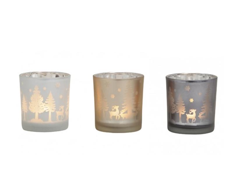 3 Windlichter Kerzenhalter Teelichthalter schöne Weihnachtsdekoration aus Glas s