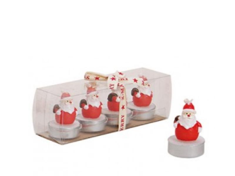 4 Teelichte im Geschenk-Set Formteelicht Teelicht-Figuren Nikolaus mit Sack – ro