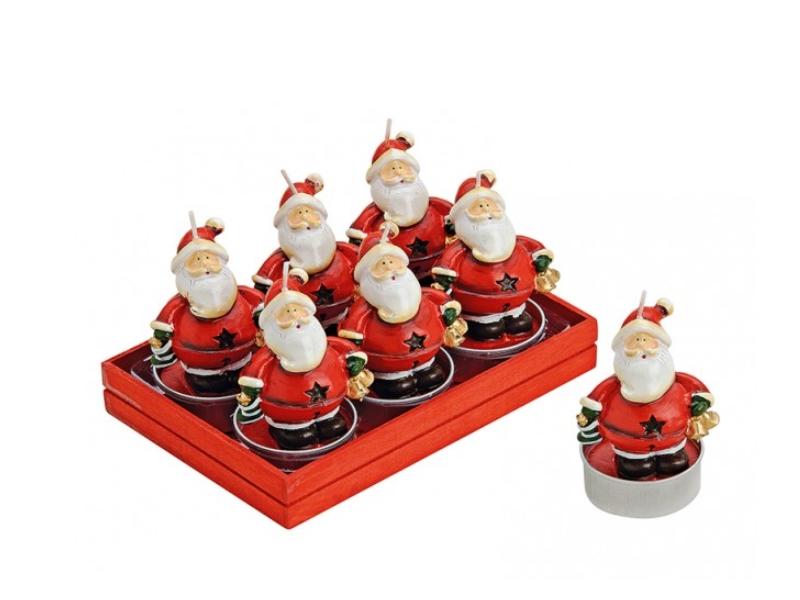 6 Teelichte im Set Formteelicht Teelicht-Figuren – gemütlicher Nikolaus H6 x Ø4