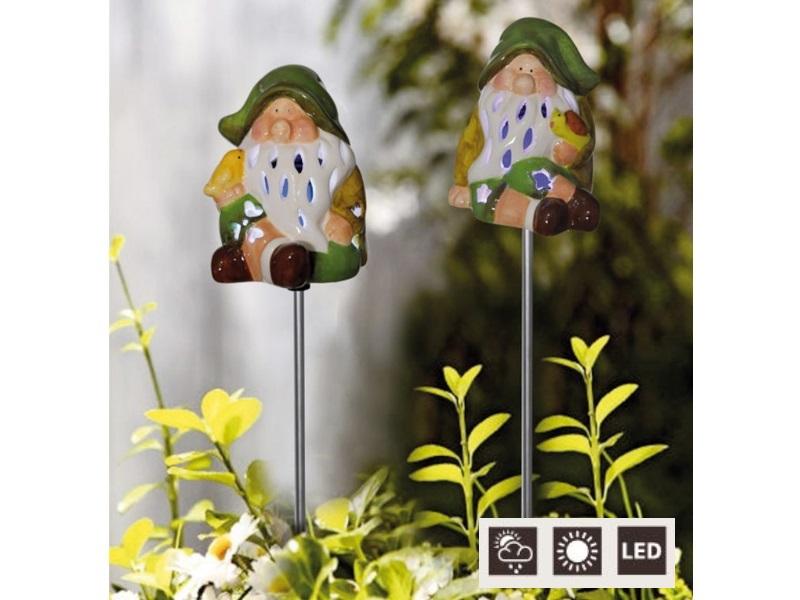 LED Solar beleuchteter Gartenstecker -  aus Keramik (Zwerg - 65cm)