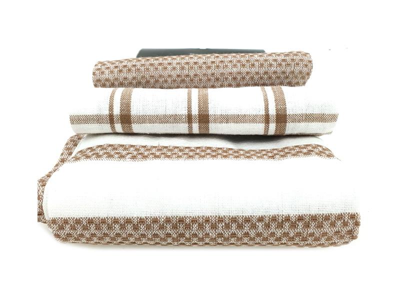 3er-Set Küchenhandtuch Handtuch Haushaltstuch 3 Mustern (Braun)