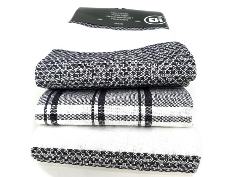 3er-Set Küchenhandtuch Handtuch Haushaltstuch 3 Mustern (Grau)