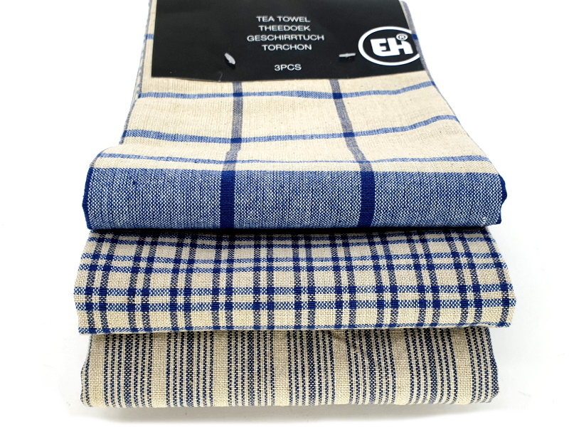 3er-Set Küchenhandtuch Handtuch Haushaltstuch 3 Mustern (blau)